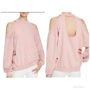 Honey Punch Distressed Cold Shoulder Sweatshirt Sm